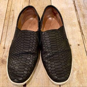 Joie Black Alligator Slip On Flats